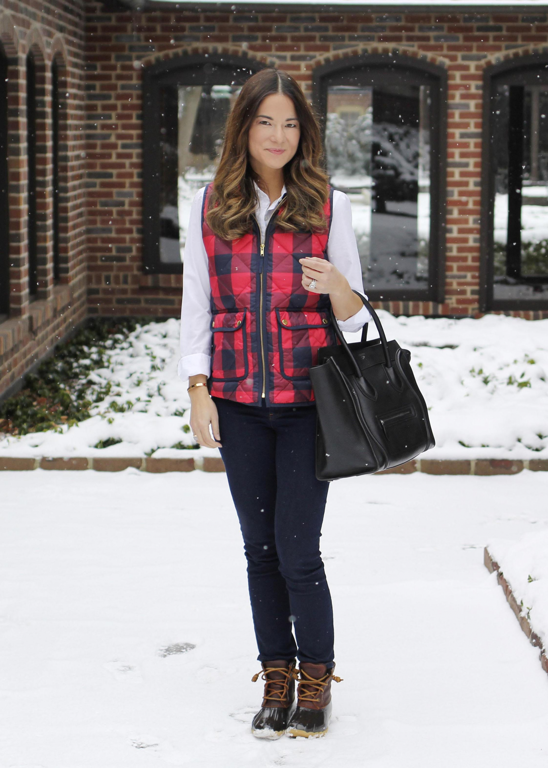 J. Crew Red Plaid Vest