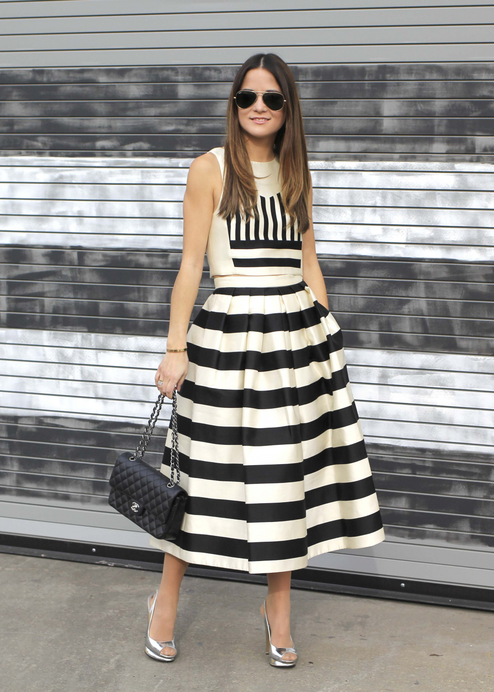 Tibi Escalante Striped Skirt