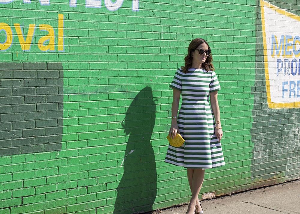 Kate Spade Green Striped Dress