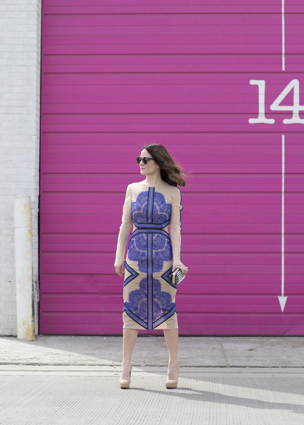 Three Floor Blue Lace Midi Dress