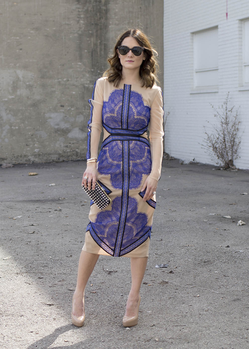 Three Floor Blue Lace Dress