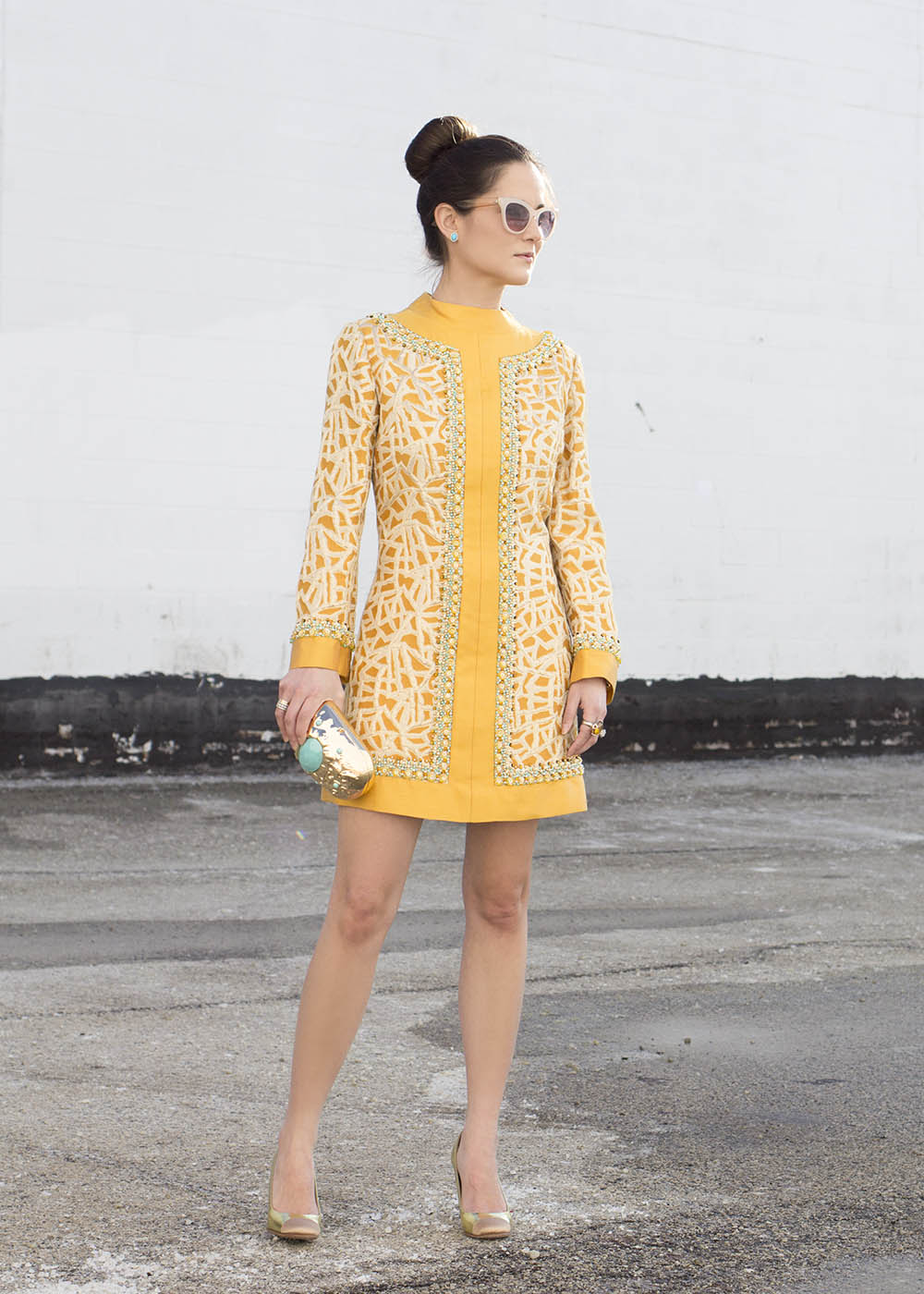 Vintage Yellow Beaded Tunic Dress