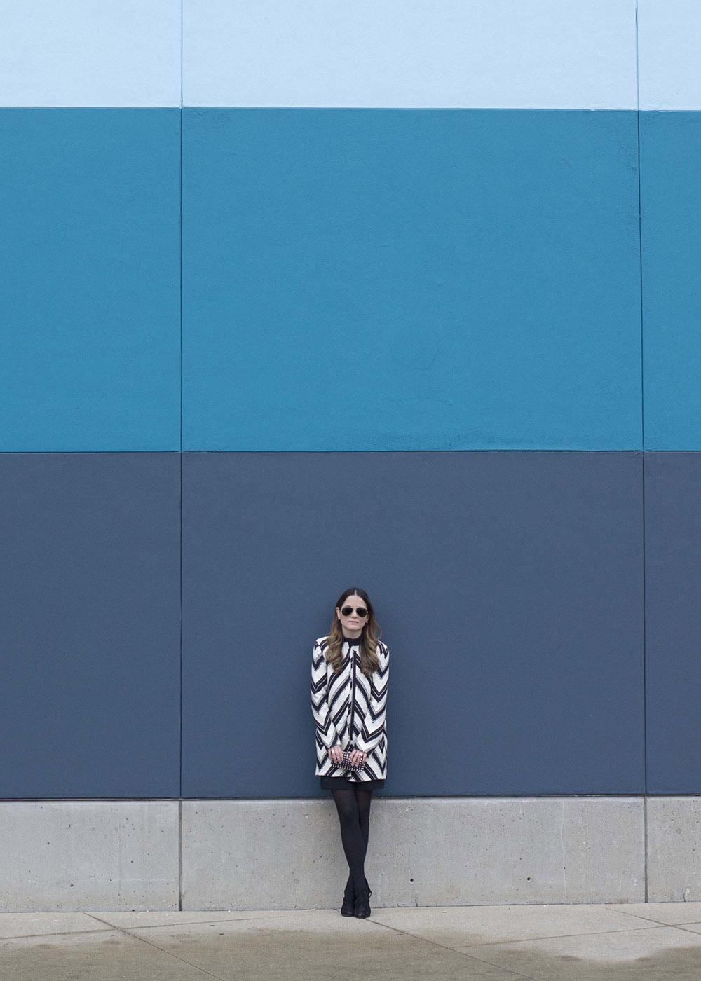 Zara Black White Striped Coat