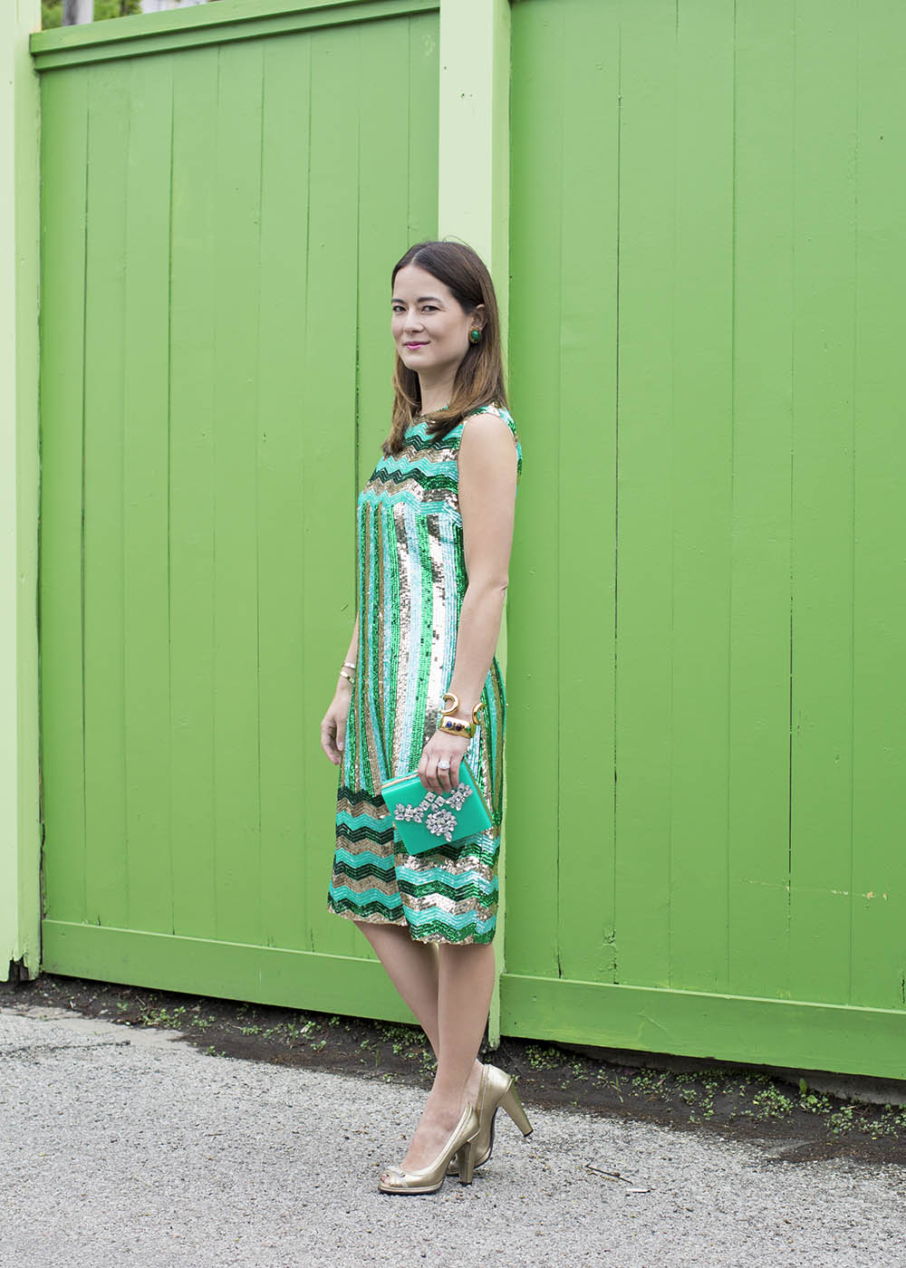 Vintage Green Sequin Chevron Dress