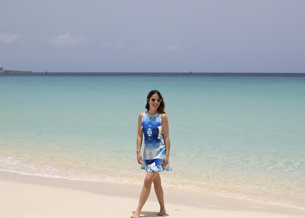 Aqua Cloud Dress Drop Waist Scuba