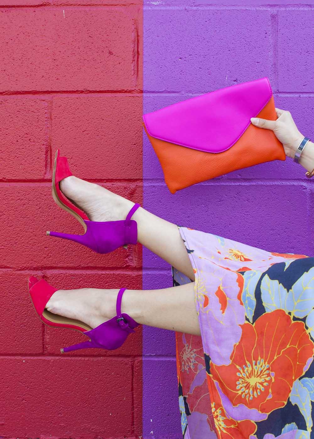 Zara Colorblock Sandals Clutch