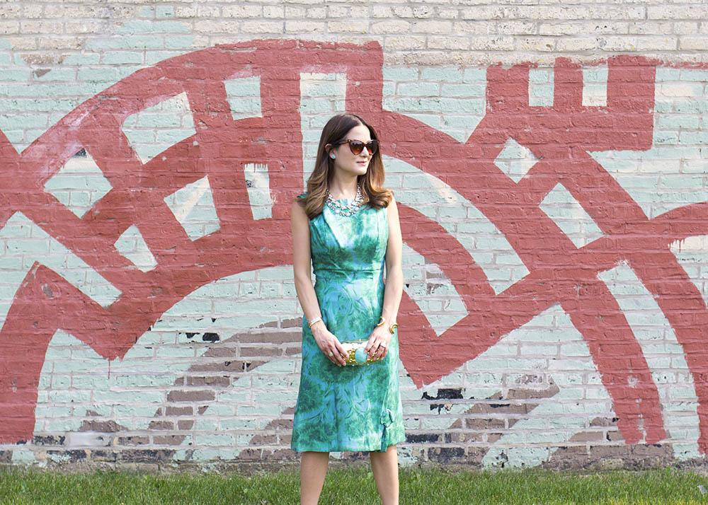 Vintage Green Floral Dress