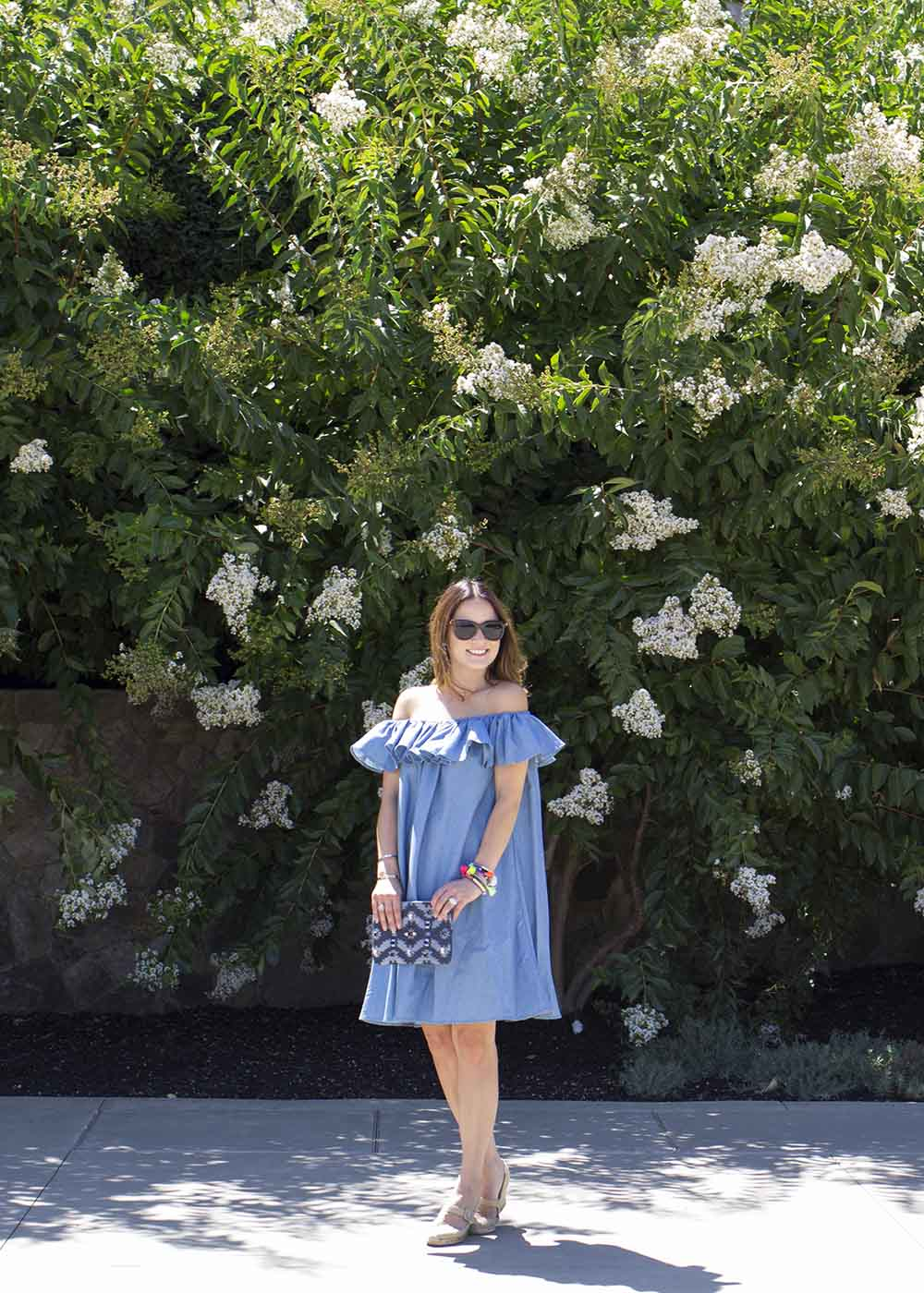 Chicwish Off Shoulder Denim Dress