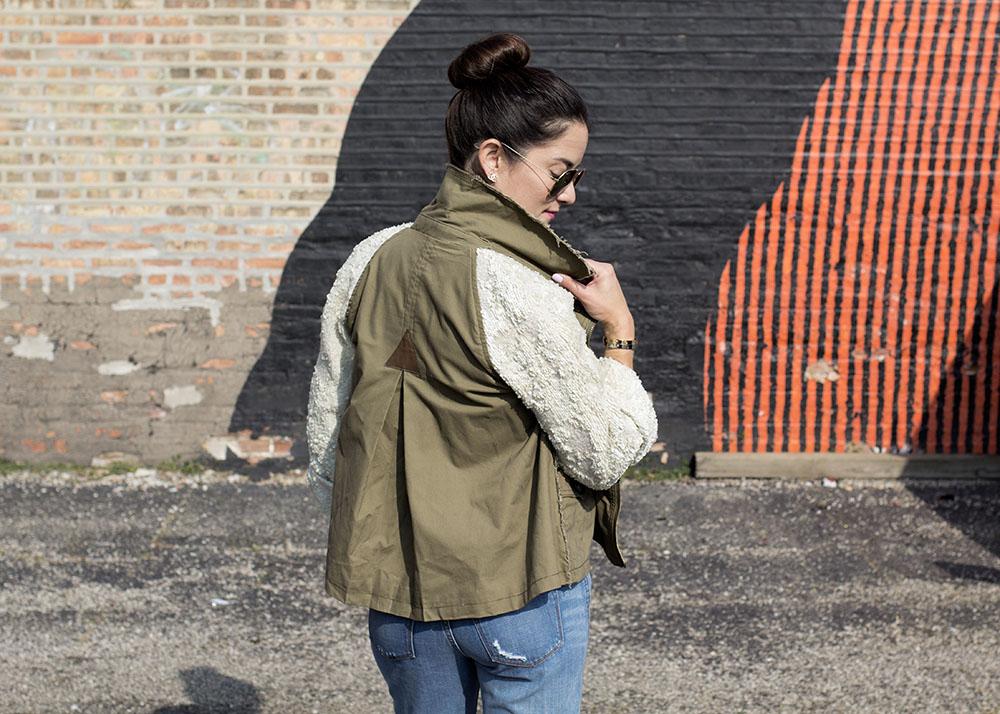 Sequin Sleeve Coat