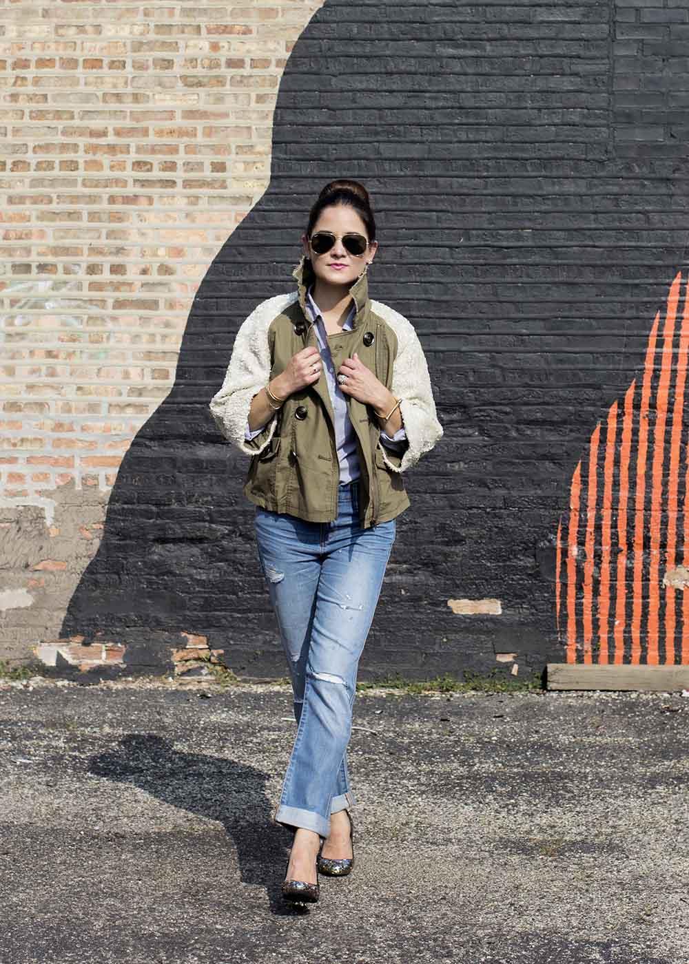 Sequin Anorak Jacket