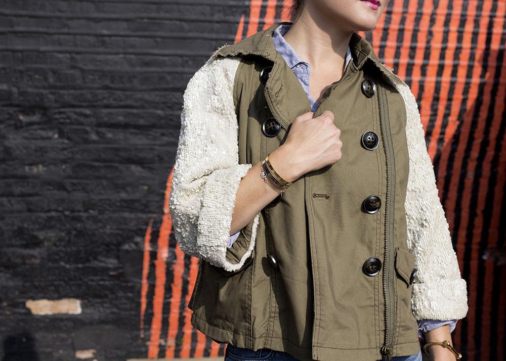 Sequin Sleeve Khaki Coat