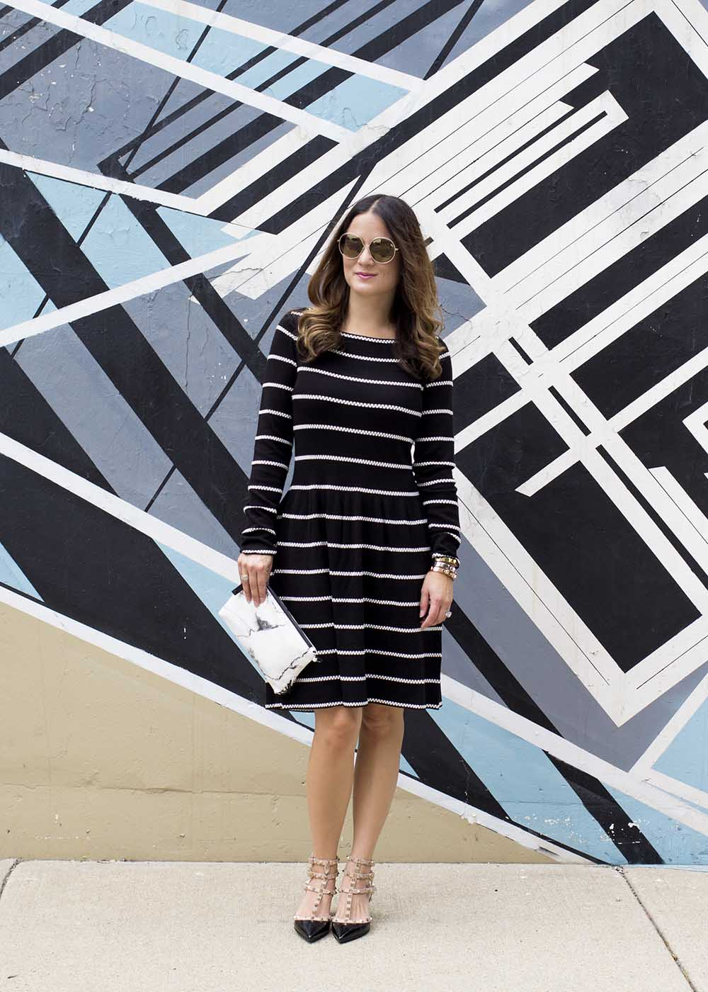 Black White Fit Flare Dress