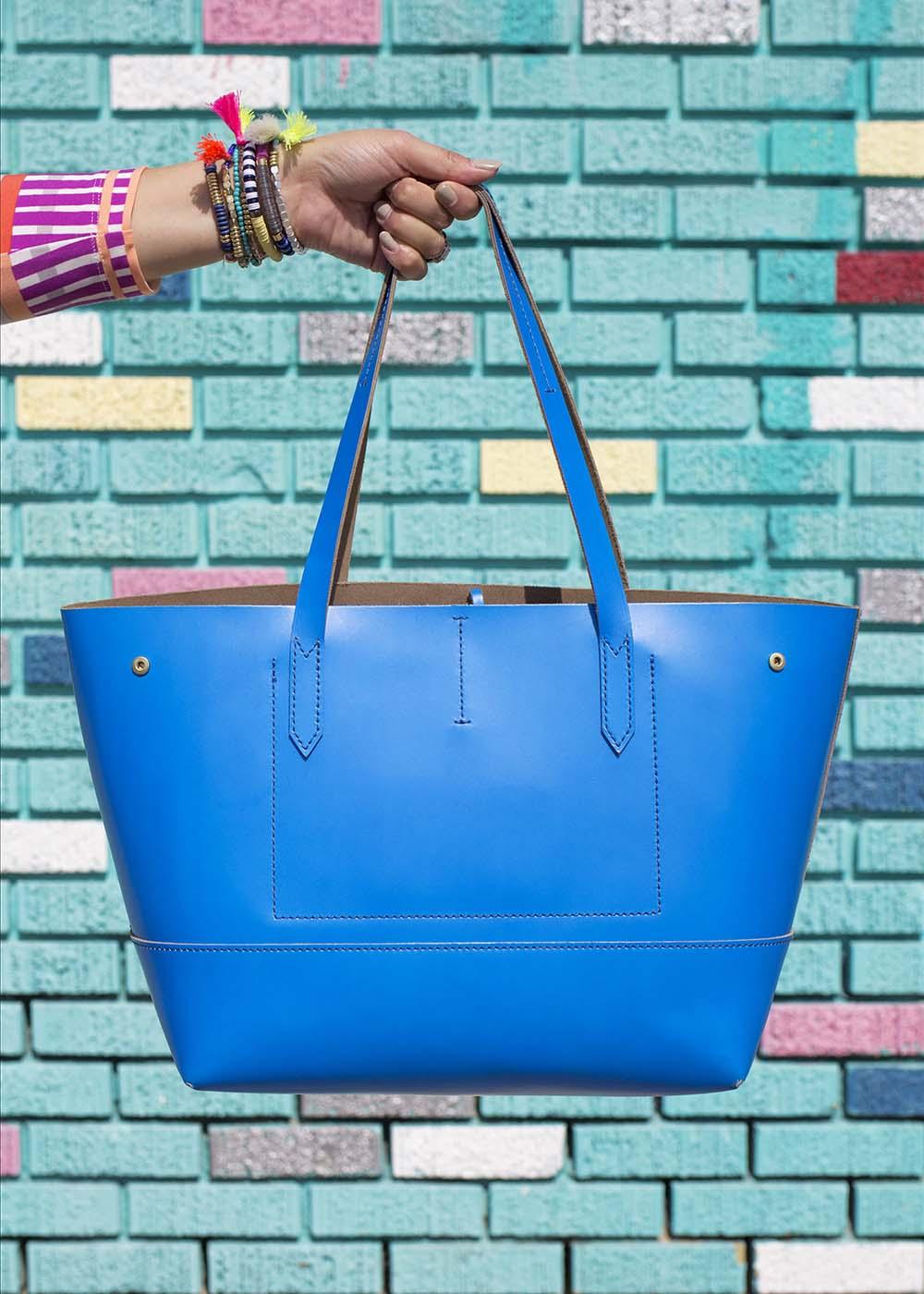 Bright Blue Leather Tote