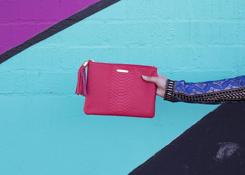 Pink Embossed Clutch Tassel