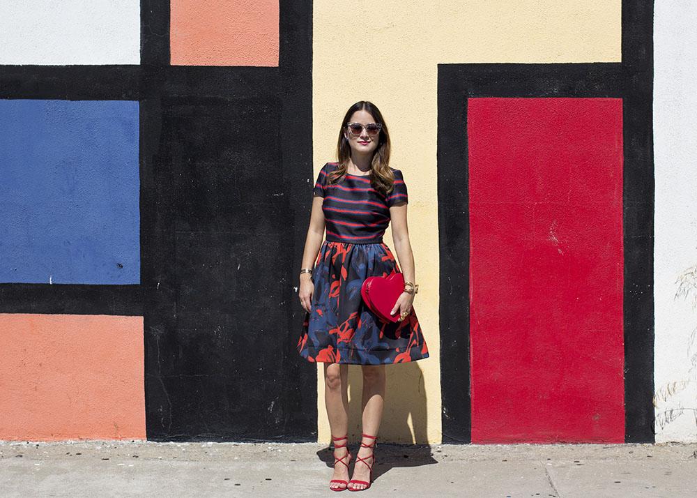 Stripe Floral Fit Flare Dress