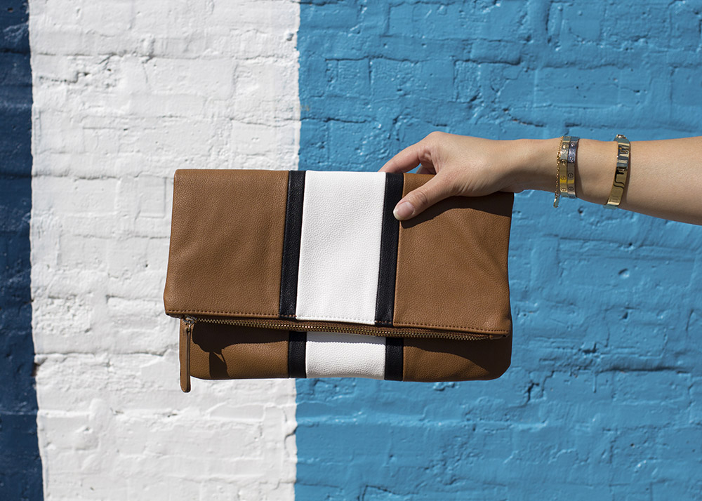 Tan Stripe Foldover Clutch