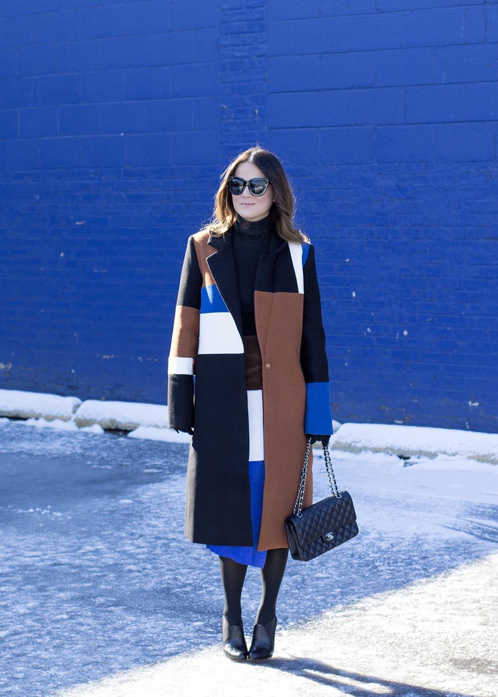 Color Block Coat Blogger