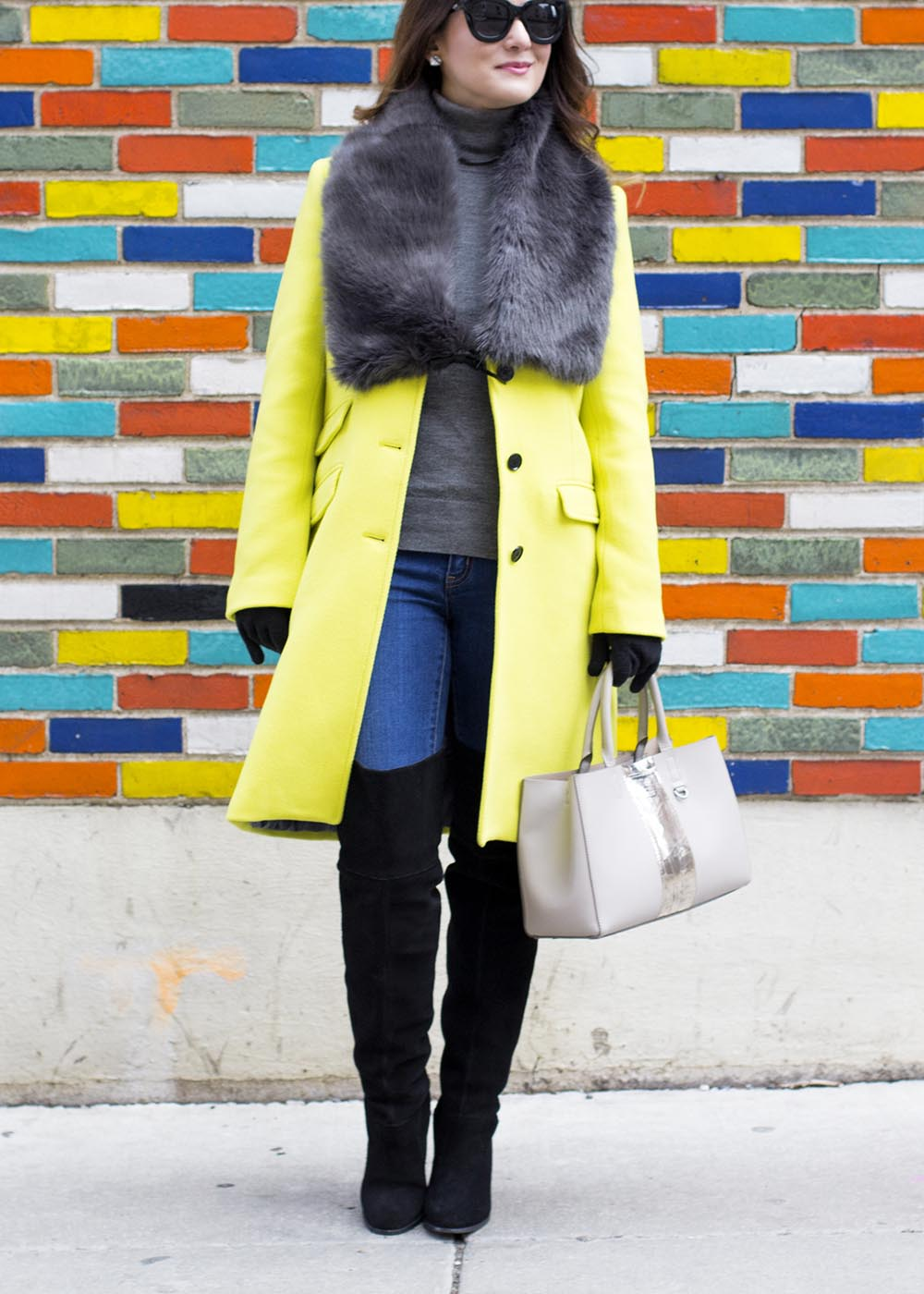 Yellow Coat Faux Fur Shawl