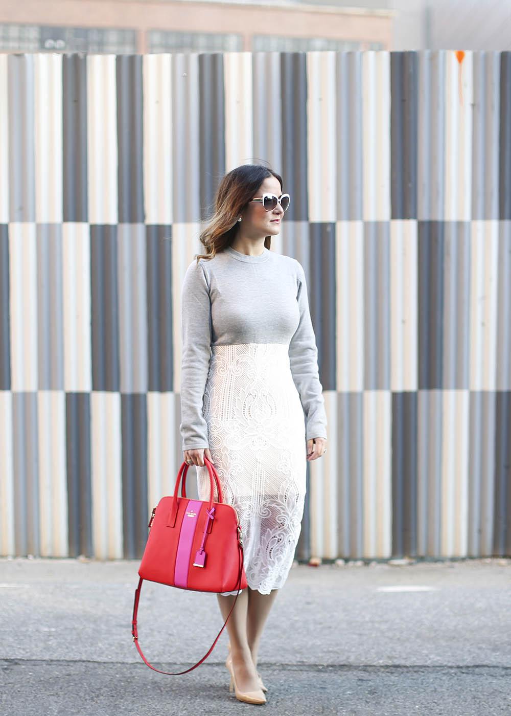 Lace Sweater Dress Grey