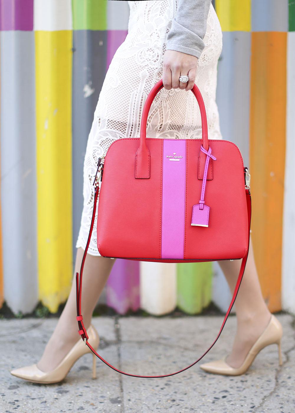 Red Bag Pink Stripe Tote