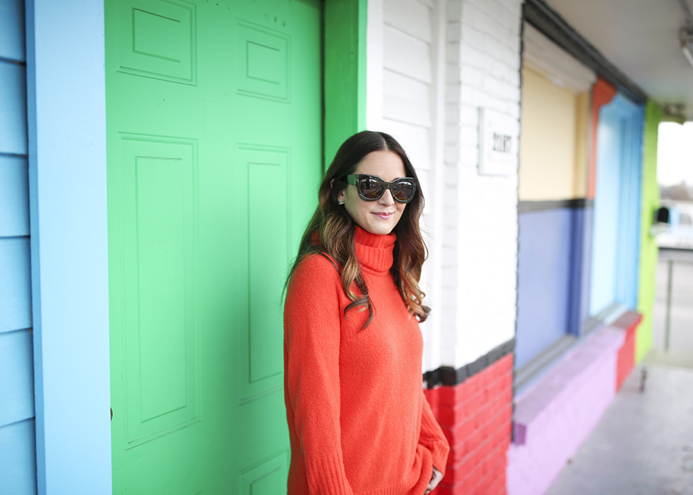Orange Chunky Knit Sweater