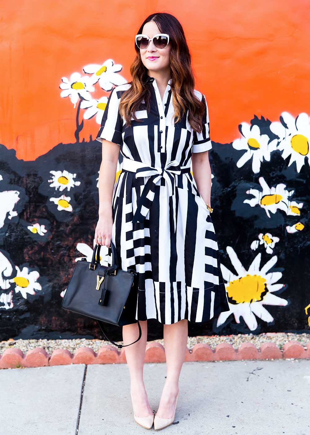 Black White Striped Shirtdress
