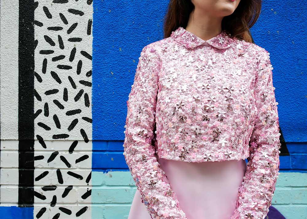 Pink Collar Sequin Dress