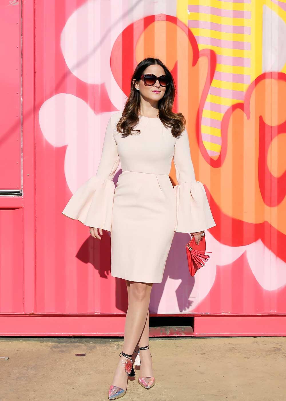 Pink Bell Sleeve Dress