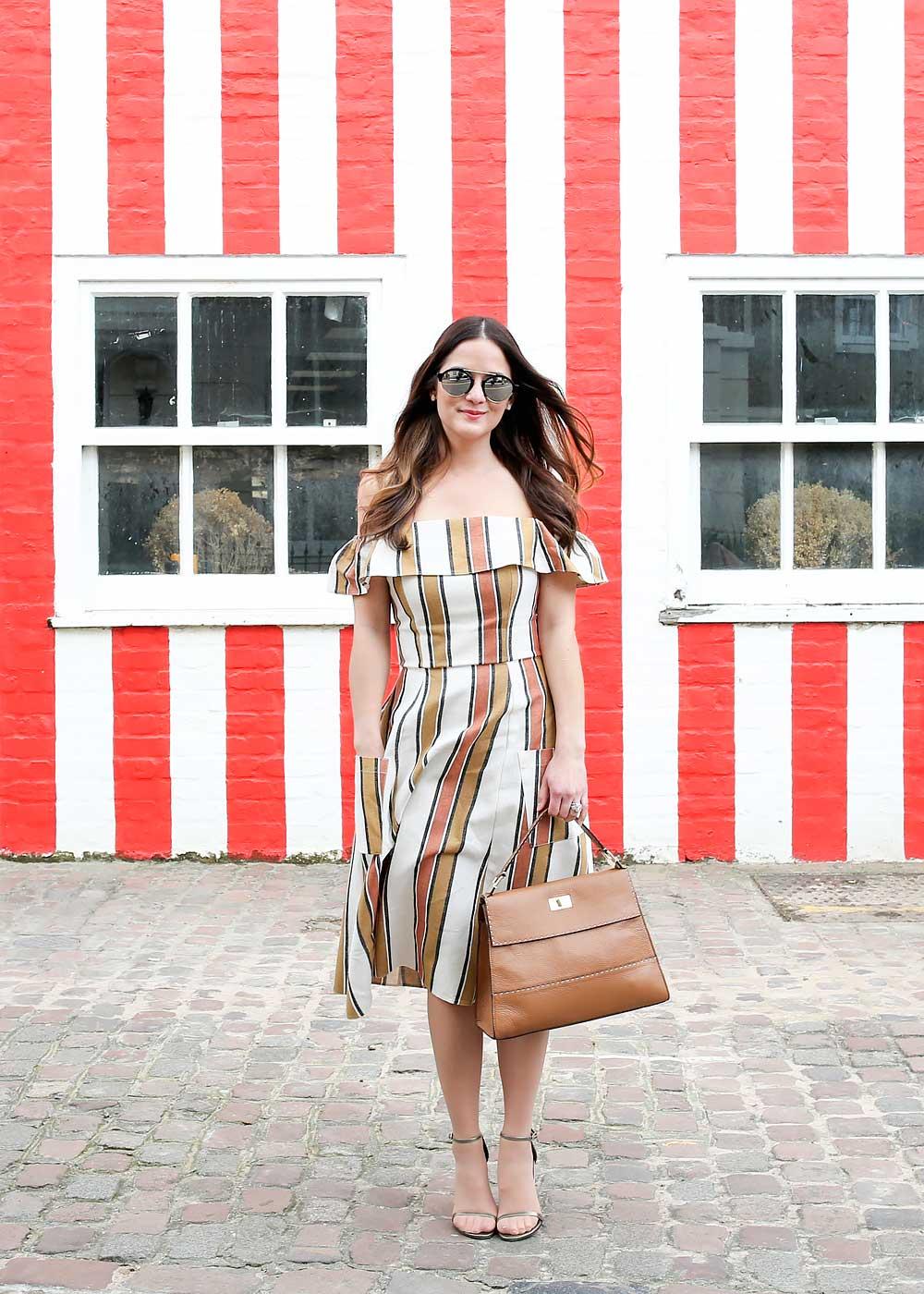 Tan Ivory Striped Dress