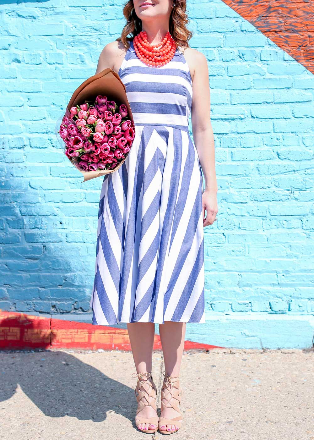 Blue Stripe Dress Outfit