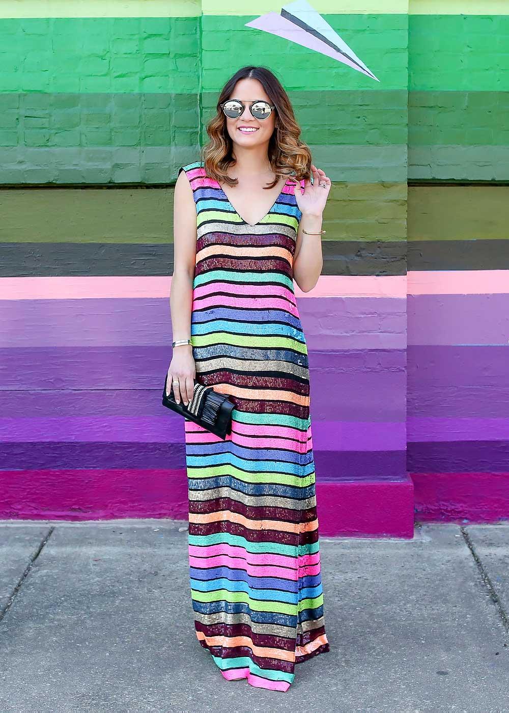Striped Sequin Maxi