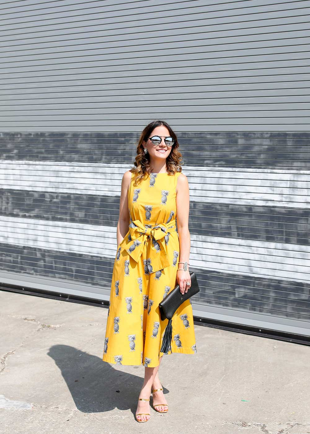 Yellow Midi Tie Waist Dress
