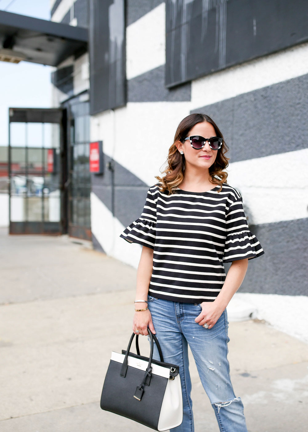 J. Crew Black White Striped Top