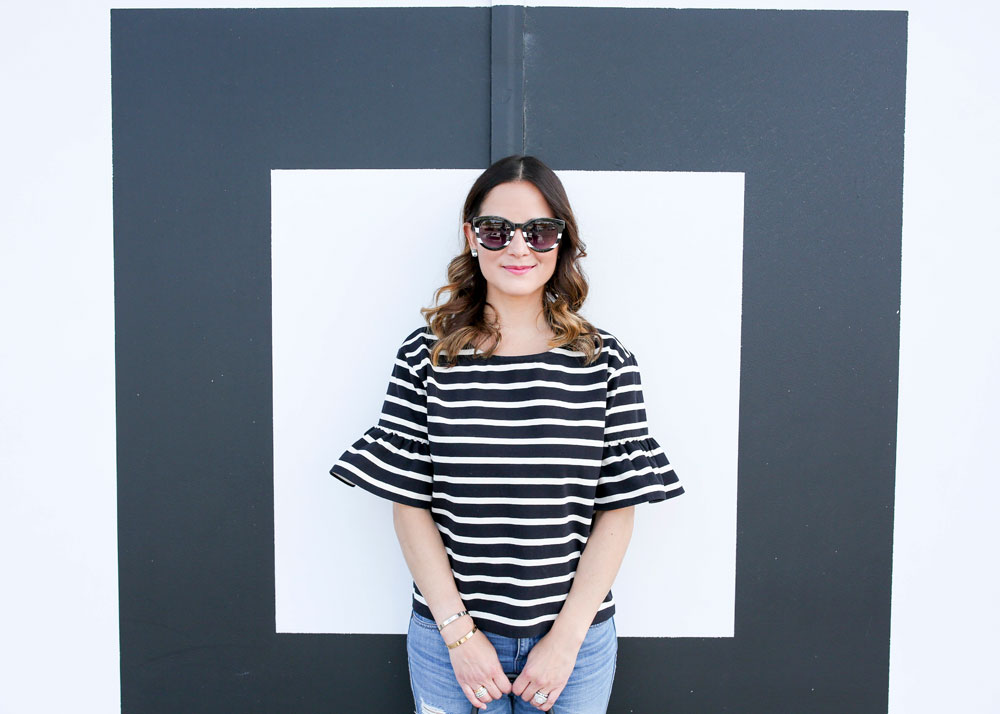 Black and White J. Crew Top