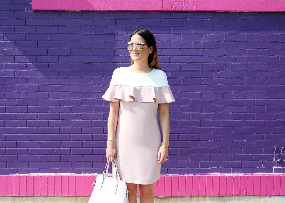 Pink White Ruffle Dress