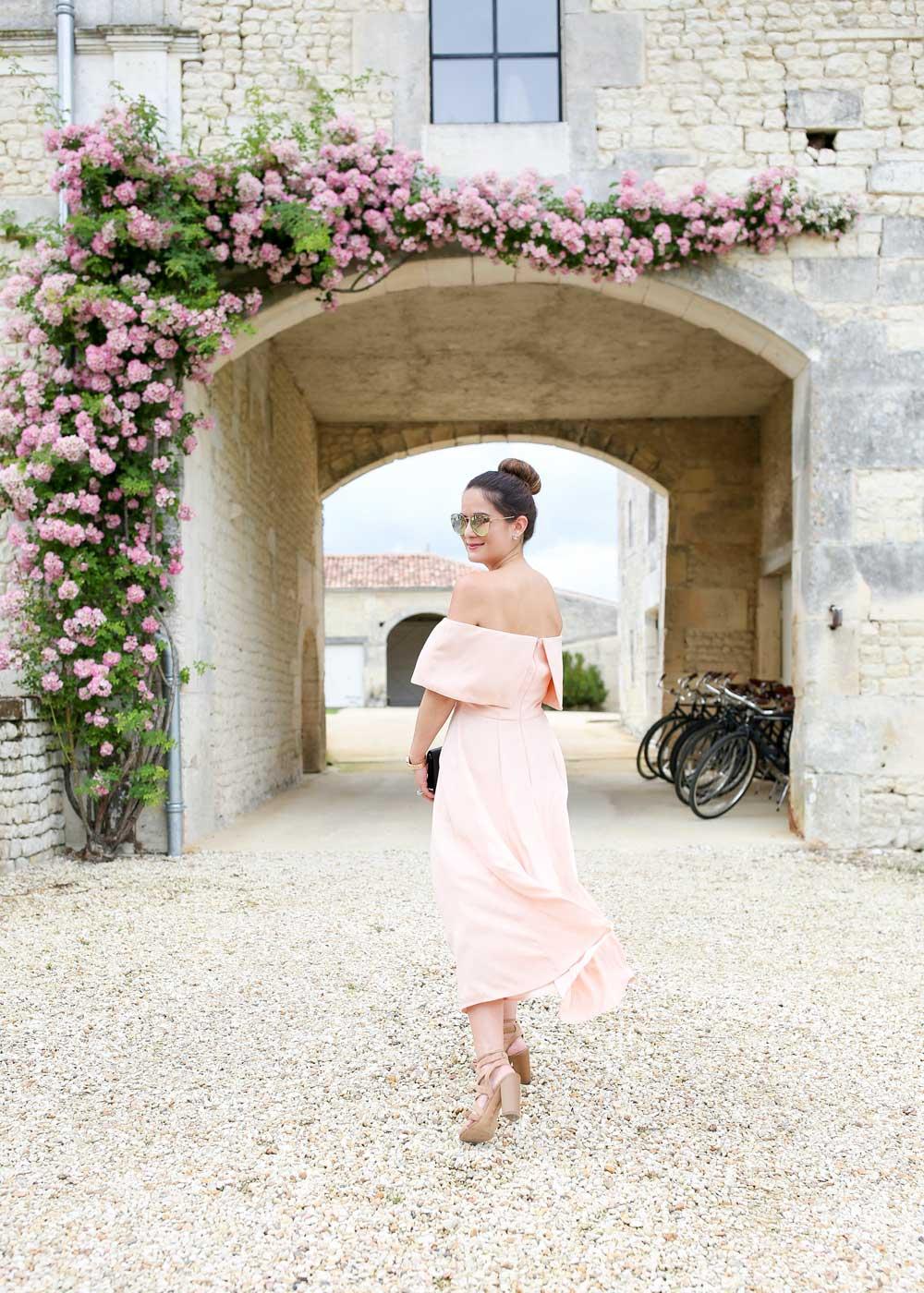 Pink Off the Shoulder Dress Fit Flare