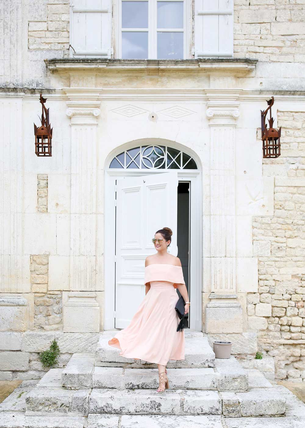 Pink Fit and Flare Midi Dress