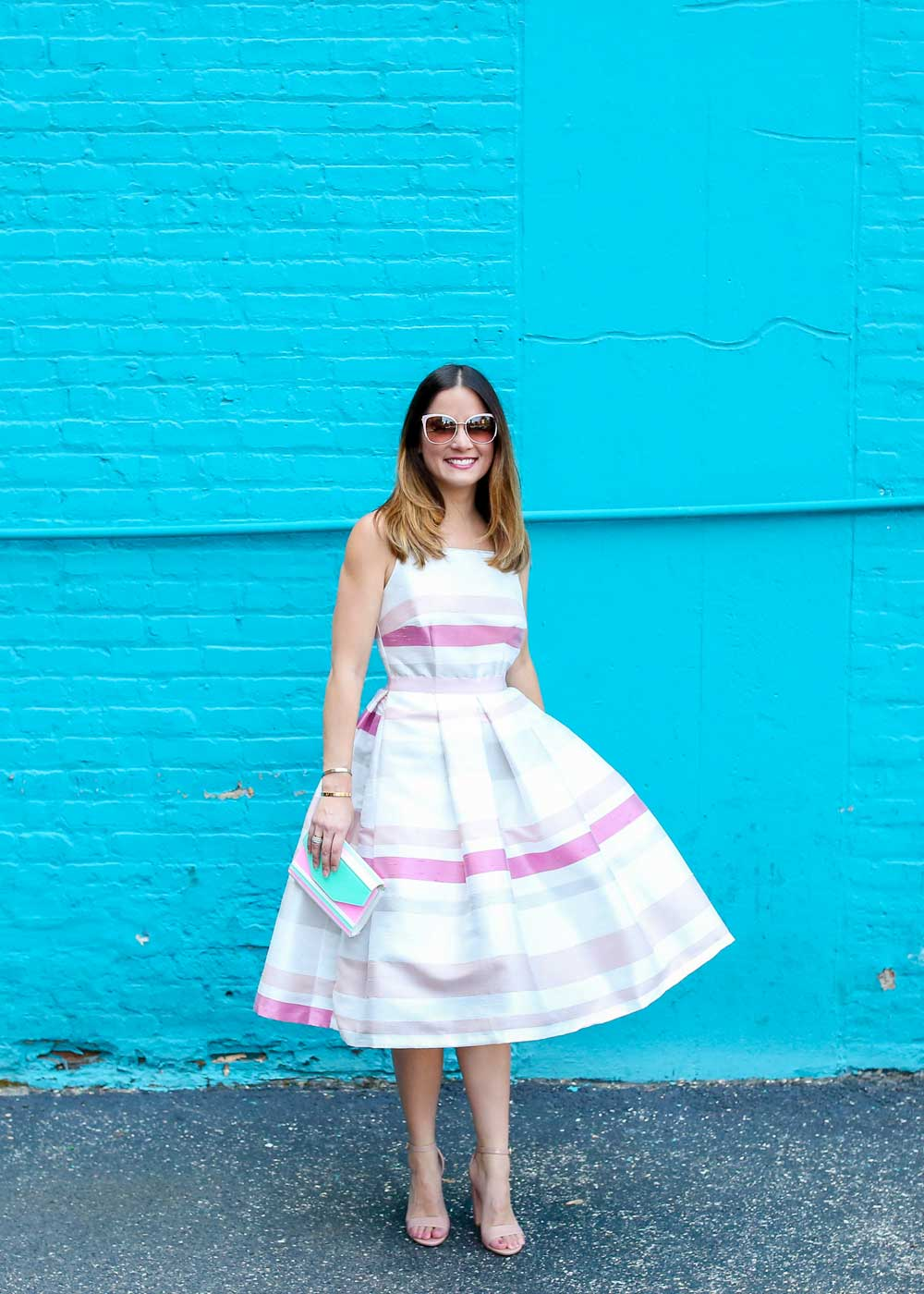 Stripe Fit and Flare Midi Dress