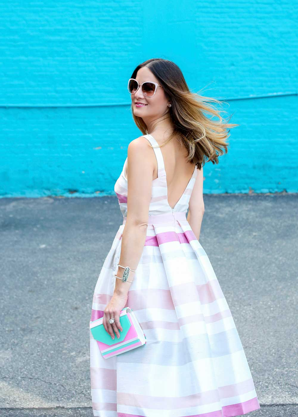 Pink Stripe Midi Dress