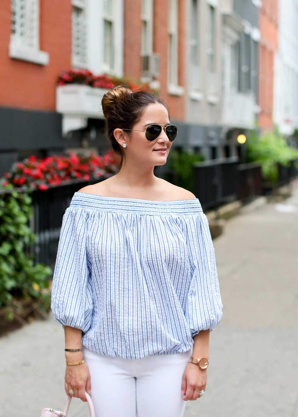 Striped Off The Shoulder Bow Top