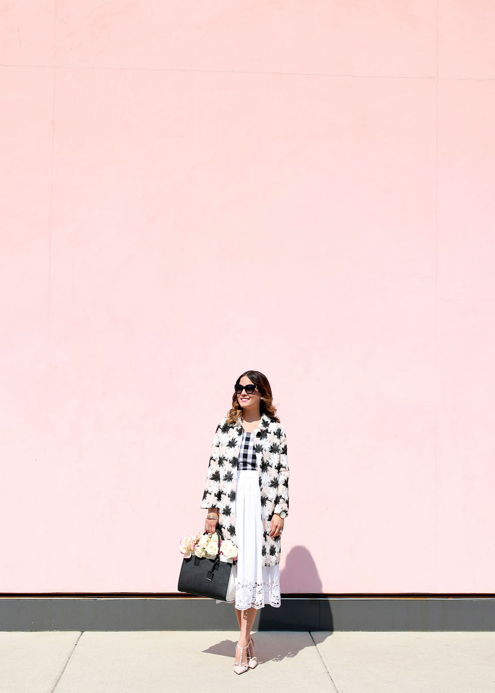 Kate Spade Black White Blush Coat