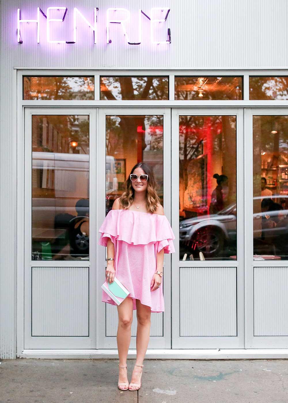 MLM Pink Off the Shoulder Dress