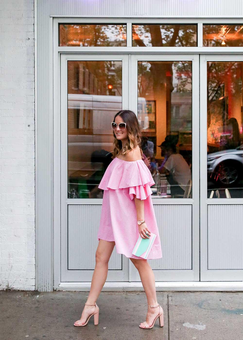 Pink Gingham Off the Shoulder Dress