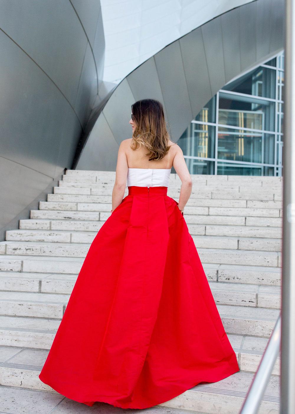 Red Silk Faille Ball Gown Skirt