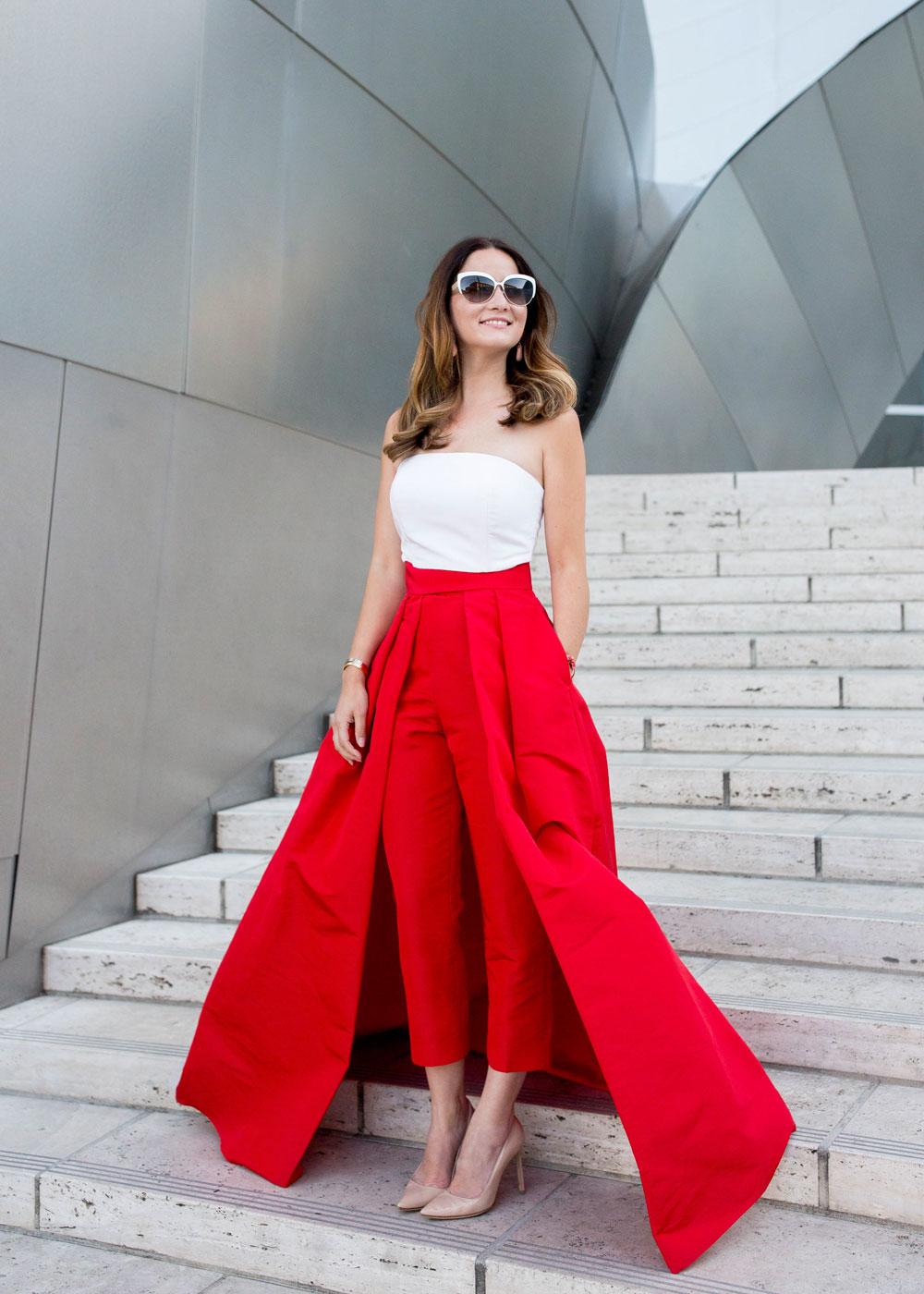 Red Silk Cigarette Pants