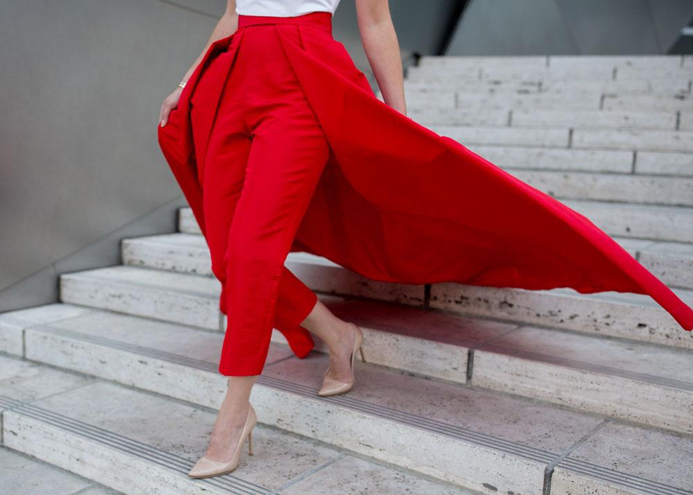 Red Silk Detachable Skirt