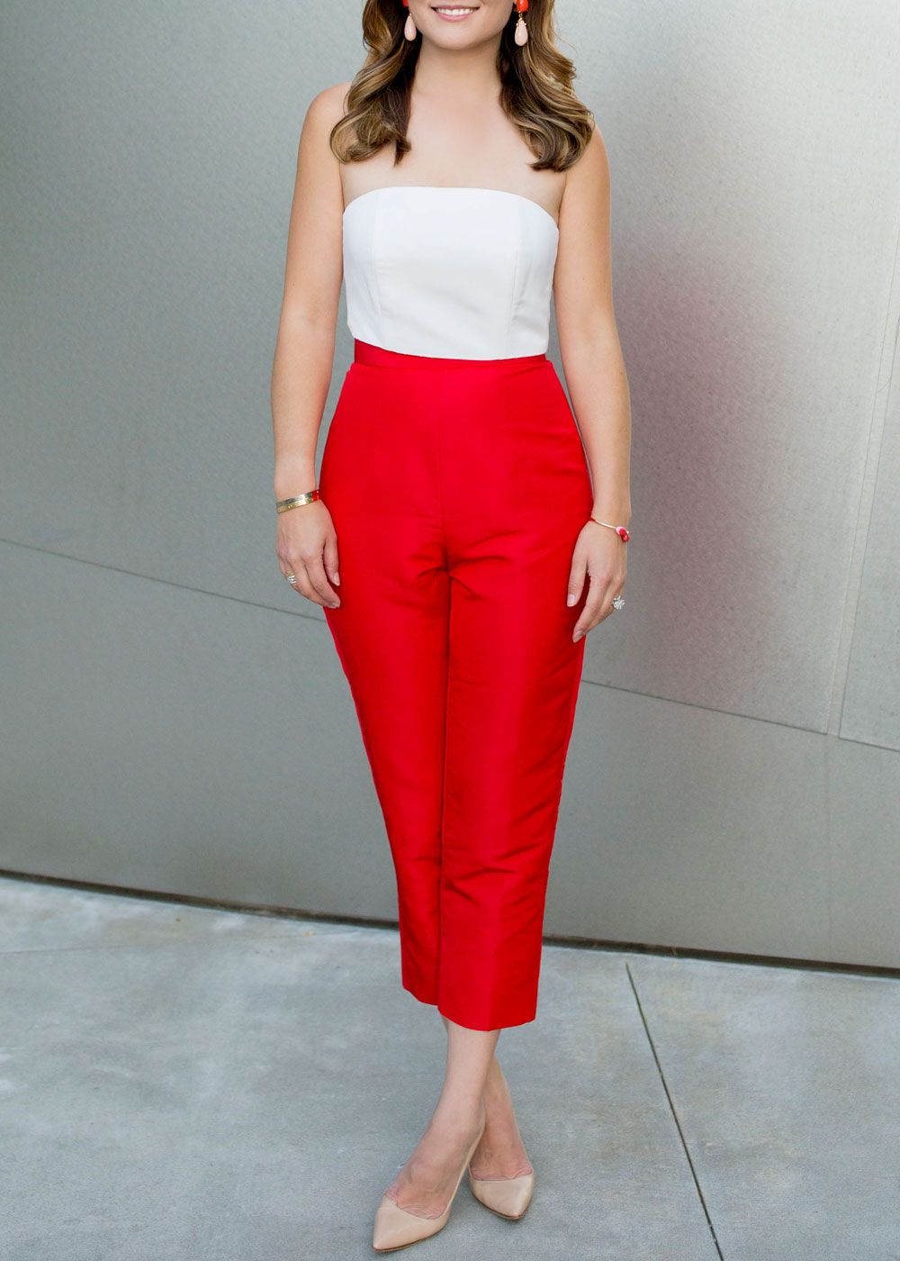 Red Silk Cropped Pants