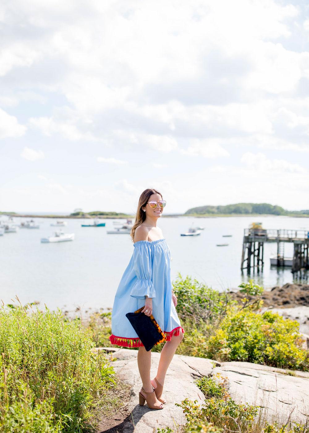 Chicwish Blue Off Shoulder Dress