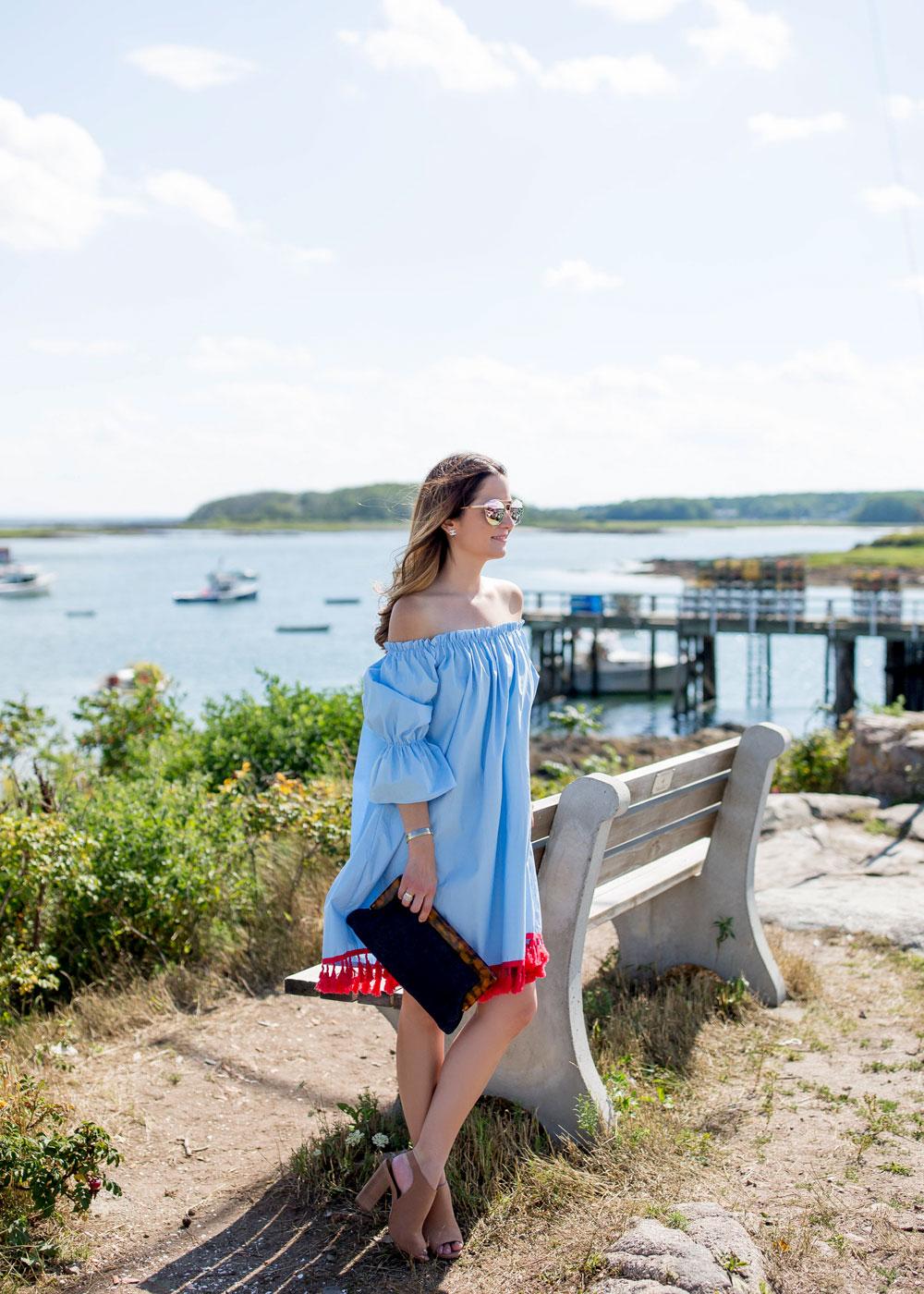 Blue Off Shoulder Fringe Dress