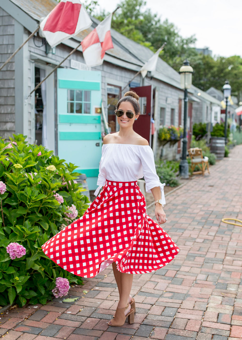 Red White Gingham Skirt